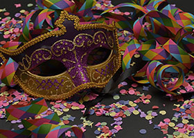 mask and confetti